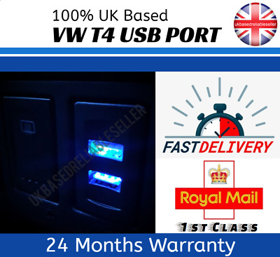 VW T4 Transporter Golf Passat Style USB Charger Dash Blank Switch Dual BLUE LED