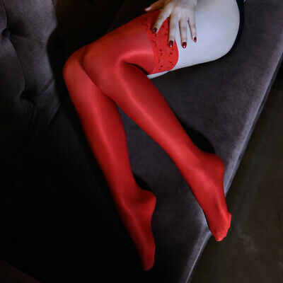 Women Lady Super Shiny Lace Silicone Stay Up Nylon Thigh High Stockings Hold Ups