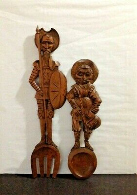 VTG Large Wooden Carved Don Quixote & Sancho Panza Fork Spoon Wall Plaque Set
