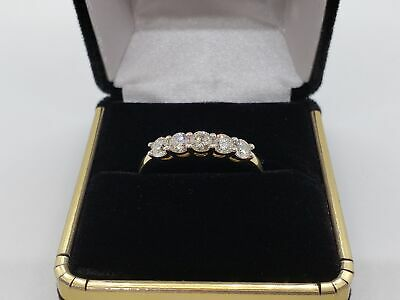 14K Lady's Diamond Wedding Band Yellow Gold 5 Diamonds 1CTW Size 11