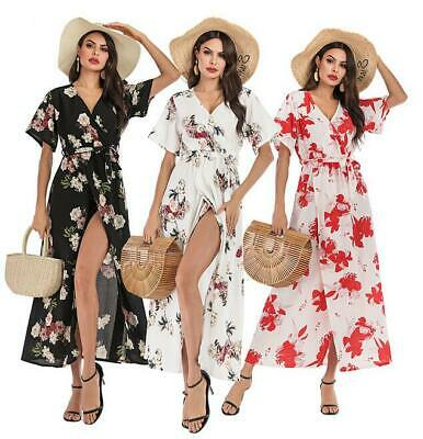 Womens Summer Boho Slit Long Maxi Dress Beach Lady Evening V Neck Party Sundress