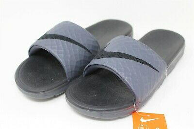 NWT Nike Men's Size 8 Benassi Solarsoft Slide Sandals 705474 090 Dark Grey Black