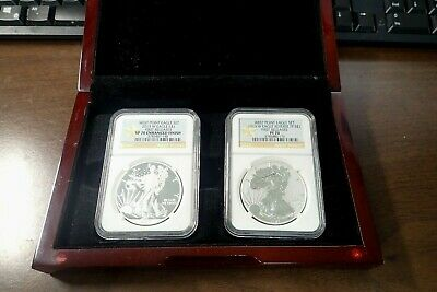 2013 W West Point Silver Eagle Set Enhanced & Reverse Proof NGC SP PF 70 Display