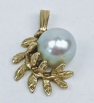 Vintage 14K 585 Solid Yellow Gold Mabe Pearl Leaf Design Necklace Pendant