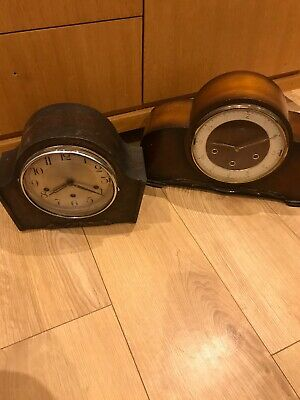 Vintage Wooden Mantle Clocks X2