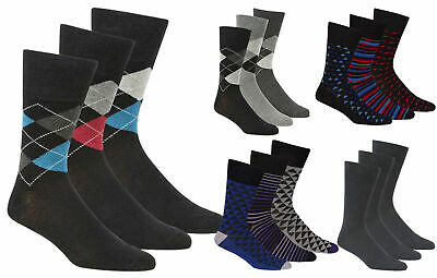 Cheap Mens Pierre Roche 3 Pk Argyle Plain Non Elastic Top Diabetic Travel Socks