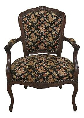 F47838EC: French Louis XV Style Needlepoint Carved Open Arm Chair
