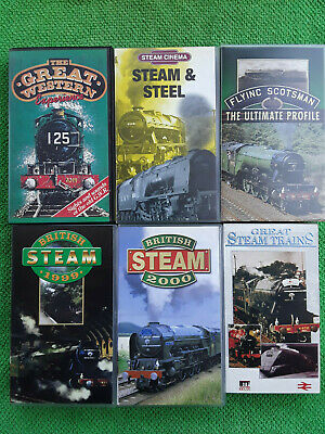 Steam Trains 6 Very Different Vhs Video Cassettes.