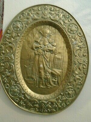 Vintage Large  2 Brass Charger Wall Hanging  Plaque The Spinner Maternite French