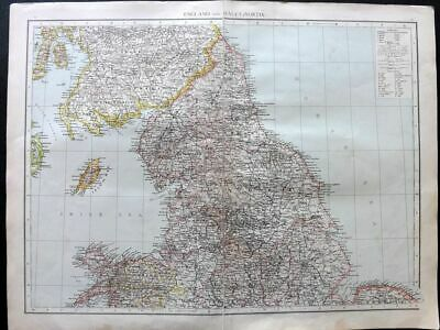 Times 1895 Antique Map. England and Wales (North)