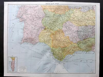Map Of South West Spain.1920 Large Map Spain And Portugal Western Section Lisbon Oporto