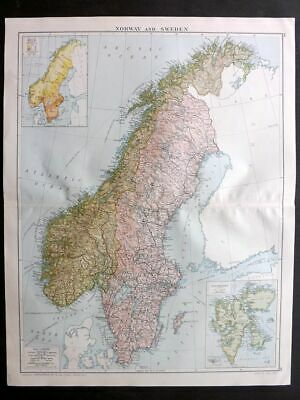 Gross 1920 Large Map. Norway and Sweden