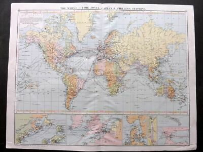 Gross 1920 Large Map. The World - Time Zones, Cables & Wireless Stations