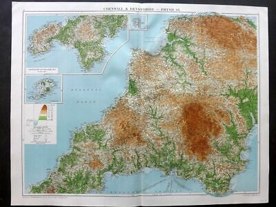 Gross 1920 Large Map. Cornwall & Devonshire - Physical