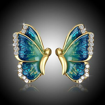 Chic Mother's Day MOM Gift Butterfly Crystal Ear Earrings Stud Party Jewelry New