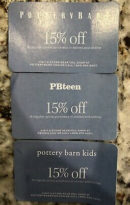 3 Pottery Barn Coupon 15% off entire order
