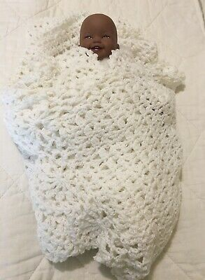 Crochet Baby Blanket Handmade New White