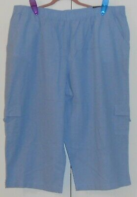 Women's  Basic Editions Relaxed Fit Chambray Pull-On Cargo Capri - Size 2Xl Plus