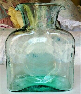 Blenko #384 Double Spout Water Pitcher / Carafe / Jug Sea Green / Aquamarine