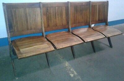 VINTAGE Wood Slat Folding Stadium Auditorium Chairs Cinema Bench Seating. Our #2