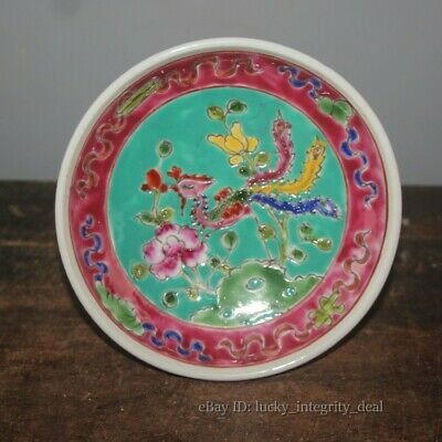 Old Chinese Porcelain Famille Rose Phoenix High Foot fruit Plate Mark