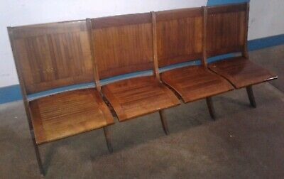 VINTAGE Wood Slat Folding Stadium Auditorium Chairs Cinema Bench Seating. Our #3