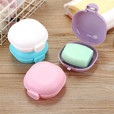 BL_ AU_ Portable Oval Soap Holder Storage Box Bathroom Home Travel Case Containe
