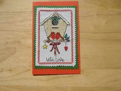 """Completed cross stitch Christmas card """"Birdhouse with robins 18cm x11cm"""
