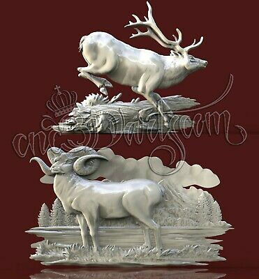 2 3D STL Models Dear Goat Animal Panel CNC Router Carving Machine Artcam aspire