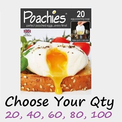 Poachies Pack Of 20 Egg Poaching Bags Poached Poach Eggs Various Quantities