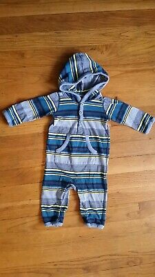 Tea Collection 0-3 Month Boy Striped Hooded Sleeper One Piece Blue Yellow Gray