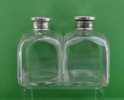 vintage sterling silver french ? cut glass perfume bottles 6 cm sq x 9 cm