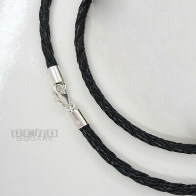 """18"""" Sterling Silver 3mm Black Round Braided Genuine Leather Cord Necklace"""
