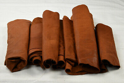 Tan Cowhide Leather Scraps - Upholstery pieces 1-2 sq ft | FULL GRAIN
