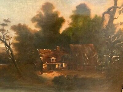 English antique painting 19th century O/C signed LL in a carved and gilt wood fr
