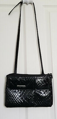 KOLTOV - Embossed Black Patent Leather Small Organizer Shoulder Bag Purse.