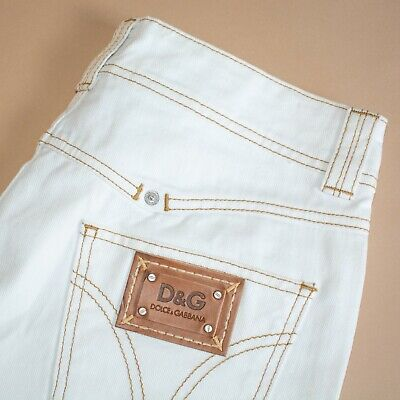 Vintage 90's Y2K Dolce & Gabbana High Waisted Cotton White Ivory Jeans W 32 L 35