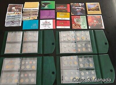 Large Lot Of 35 Canada Uncirculated Sets 1968-2015 - In RCM Books #coinsofcanada