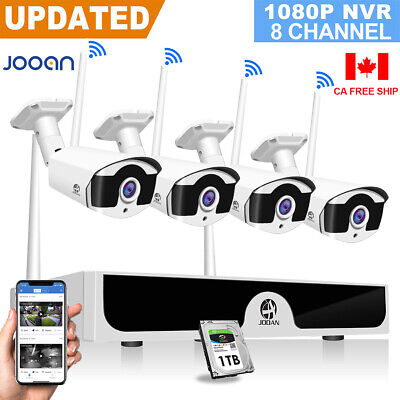JOOAN 8CH Wireless 1080P NVR Outdoor WIFI Camera Home CCTV Security System 1TB