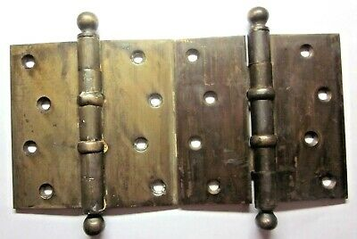 "Pair 2 Antique McKinney 4-1/2"" Bearing Hinges Ball Tip Brass Plated Mortise Door"