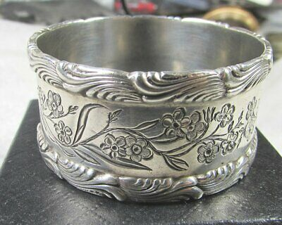 Nice Antique Tiffany  & Co. Sterling Napkin Ring, Wave Edge & Engraved Flowers