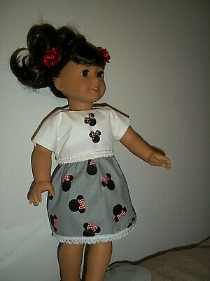"""18"""" doll clothes fit american girl, minnie mouse print dress set"""