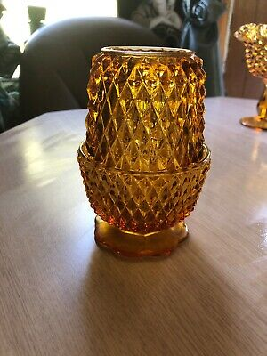 Vintage Indiana Glass Amber Diamond Point Fairy Lamp