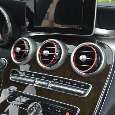 7pcs Red Air Vent Outlet Ring Cover Trim for Mercedes Benz C Class W205 15-18 LB