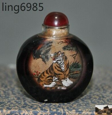 Old Chinese Glass Glaze Inside painting Tiger Beast Pine Figure Snuff Bottle