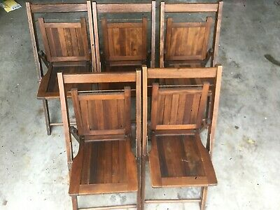 Lot of 5 Vintage Child Kids Wood Slat Folding Chairs Decor Chruch Dolls