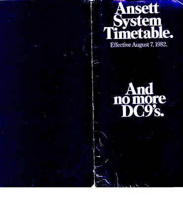 Ansett Australia  With No More Dc-9S Timetable 7 August 1982