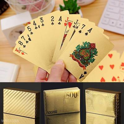 8 Style Gold Foil Plated Waterproof Plastic Playing Cards 24K Foil Plated Poker