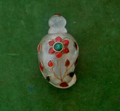 Vintage Ottoman mughal rock crystal Gem Setted perfume mango bottle qing dynasty