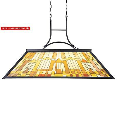 Wellmet Vintage 3-Light Pool Table Light Pendant With Tiffany-Style Printed Shad